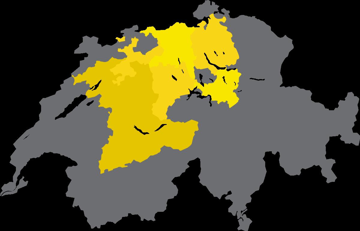 Schweizerkarte mit den eingezeichneten Tätigkeitsgebieten von ihrePutzfrau.ch.